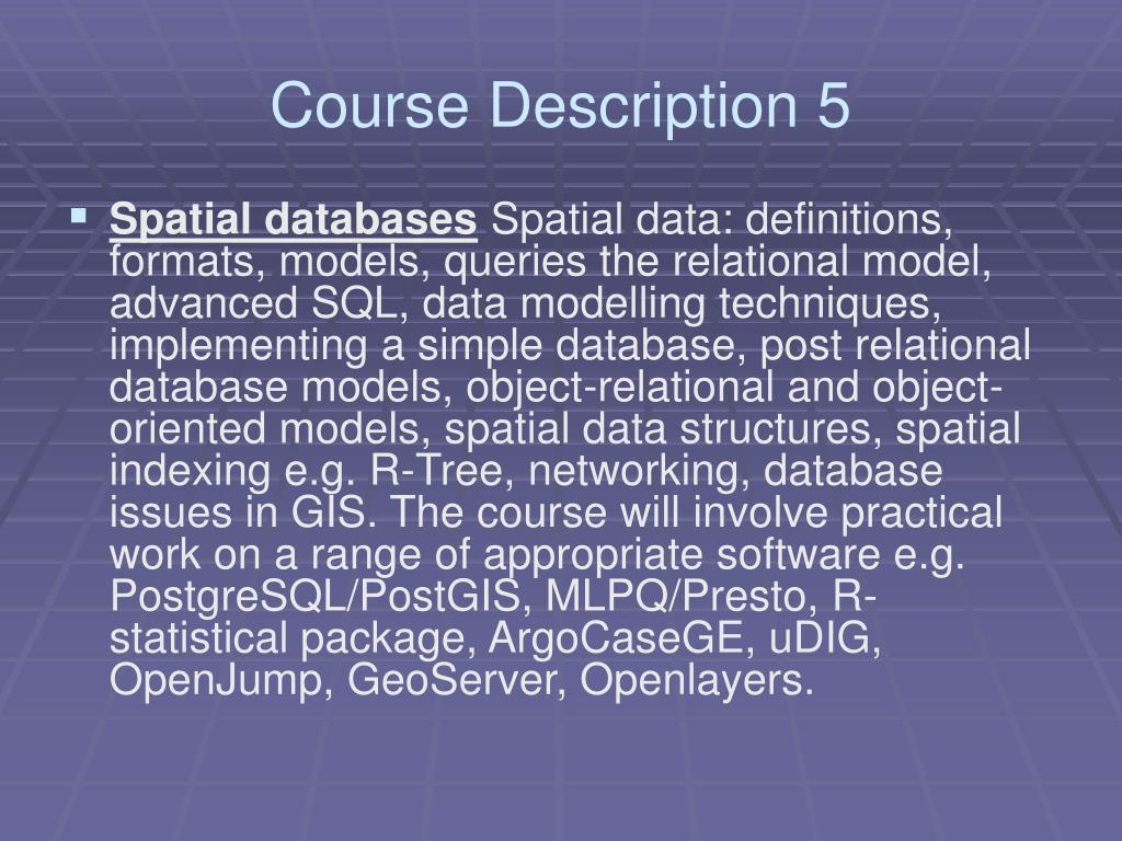 Course Description 5