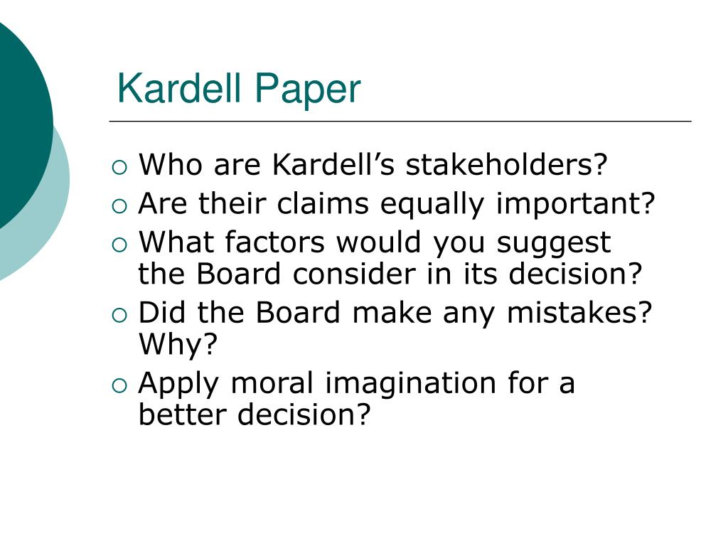kardell paper Acc 260 week 6 checkpoint presentation to purchase this visit here: • read the kardell paper co ethics case on pp 371-372 (ch 5) of the text.