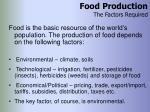 food production the factors required
