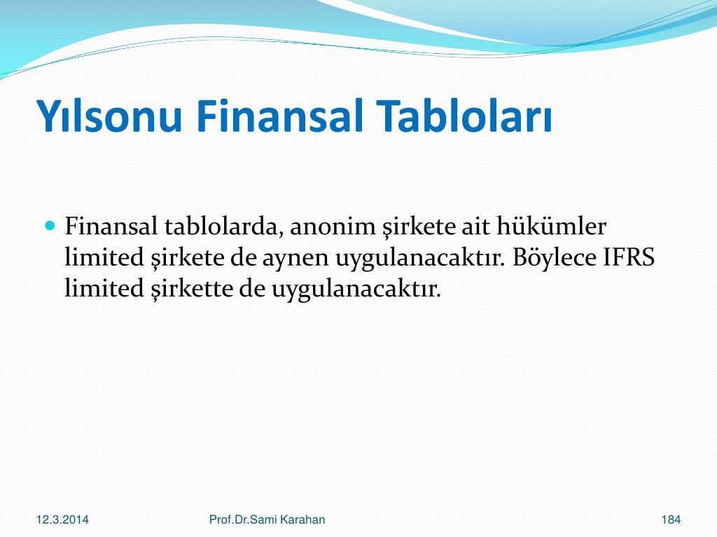 Yılsonu Finansal Tabloları