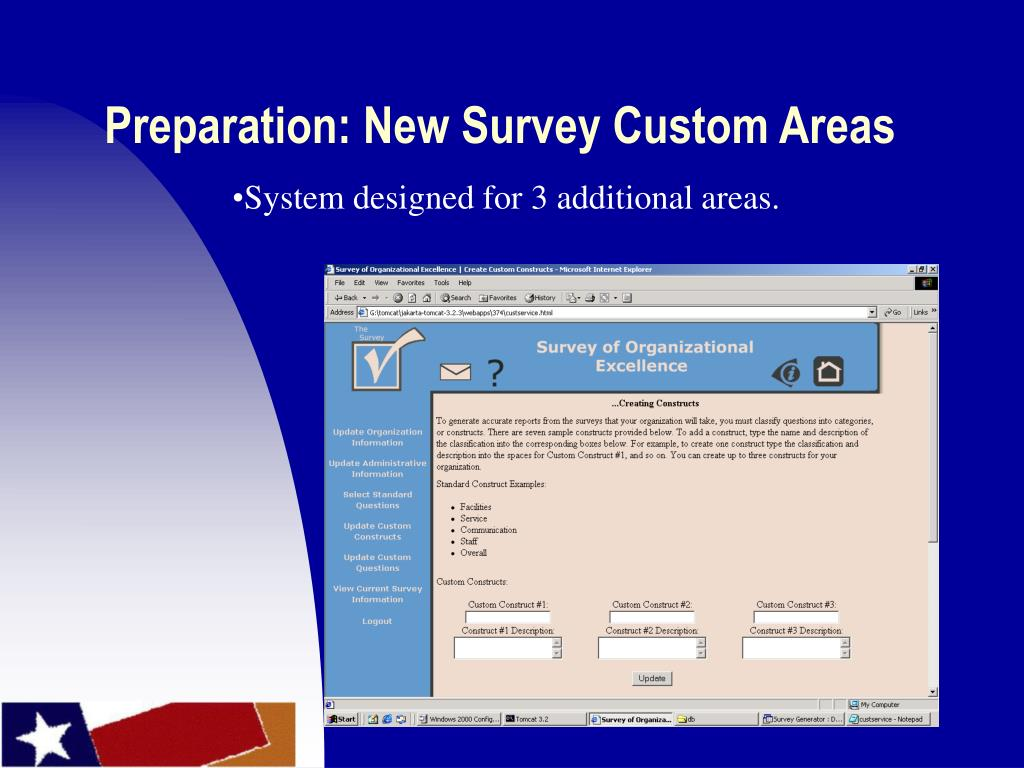 Preparation: New Survey Custom Areas