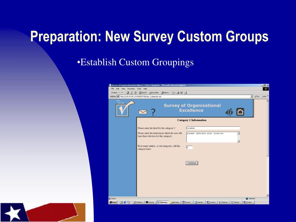 Preparation: New Survey Custom Groups