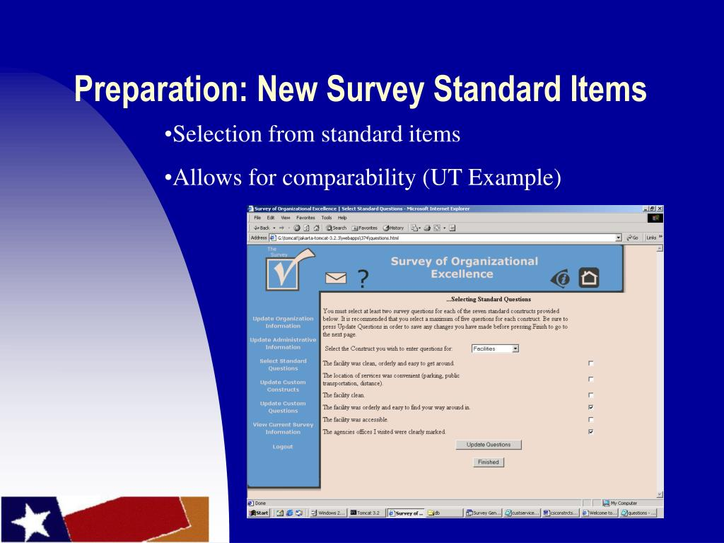 Preparation: New Survey Standard Items