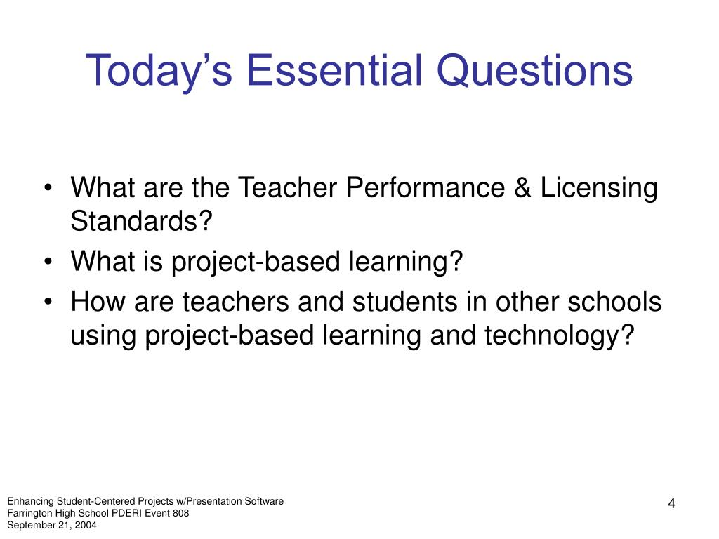 Today's Essential Questions