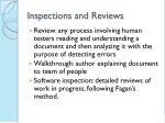 inspections and reviews