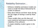 reliability estimation