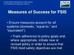 measures of success for fsis