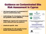 guidance on c ontaminated s ite r isk a ssessment in c yprus