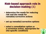 risk based approach role in decision making 1