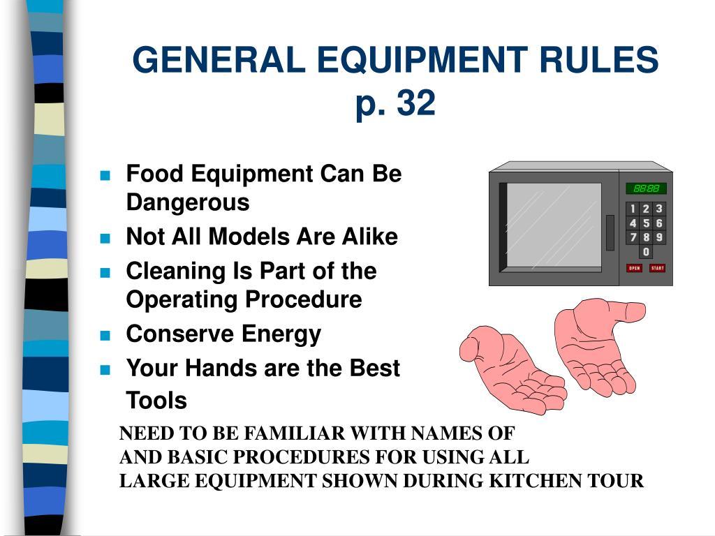 general equipment rules p 32 l.
