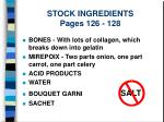stock ingredients pages 126 128
