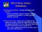 fda s prior notice definitions