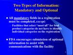 two types of information mandatory and optional