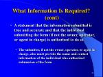 what information is required cont44