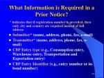 what information is required in a prior notice