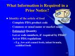 what information is required in a prior notice101