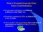 what is excluded from the prior notice food definition
