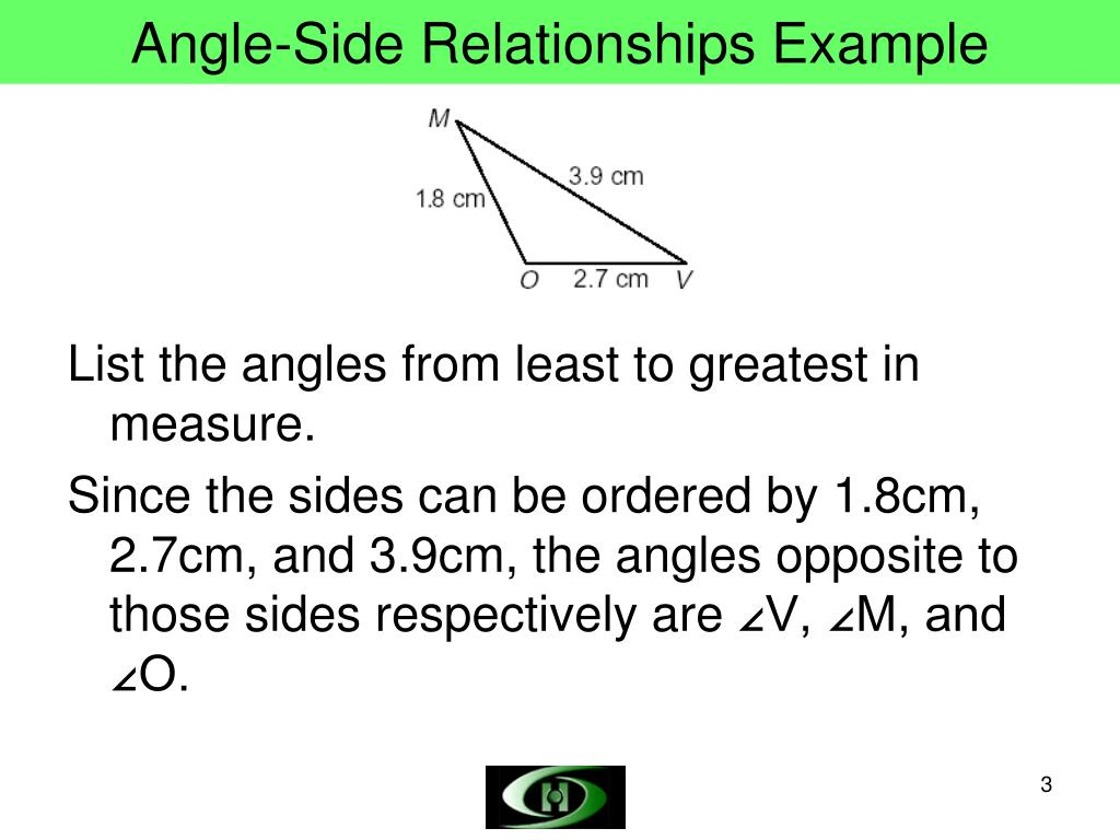 Angle-Side Relationships Example