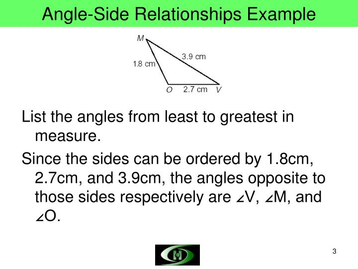 Angle side relationships example