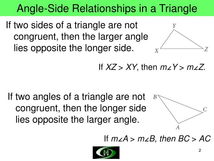 Angle side relationships in a triangle