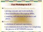 first workshop on icp34