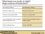 what keeps you awake at night major sources of frustration