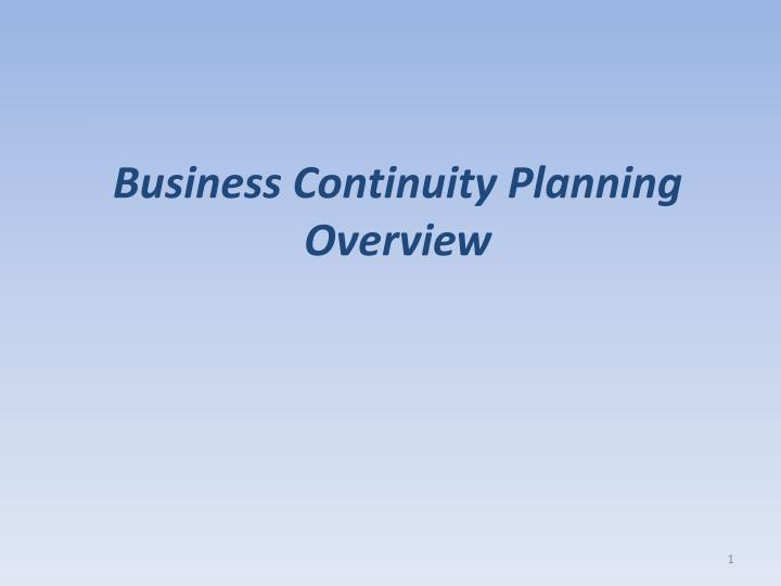 Business continuity planning overview