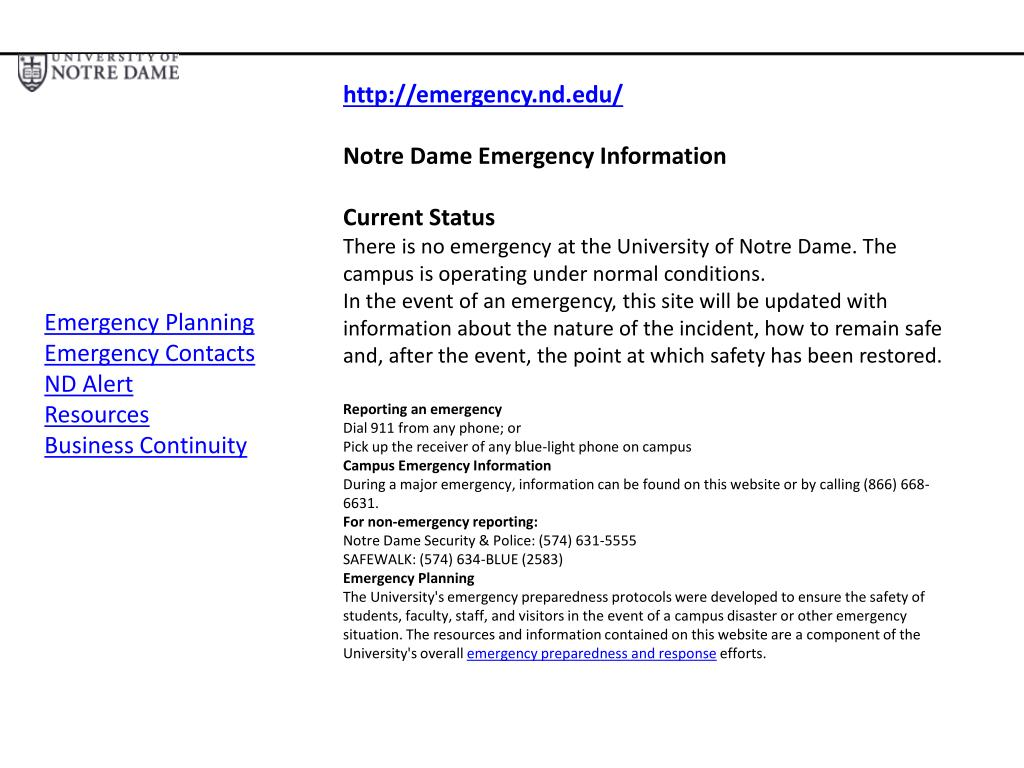 http://emergency.nd.edu/