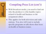 compiling press list con t