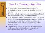 step 3 creating a press kit