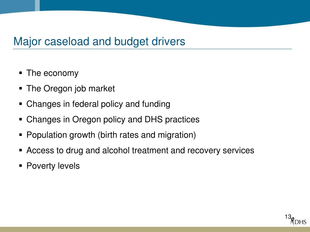 Major caseload and budget drivers