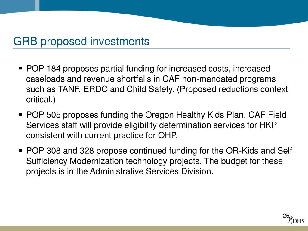 GRB proposed investments