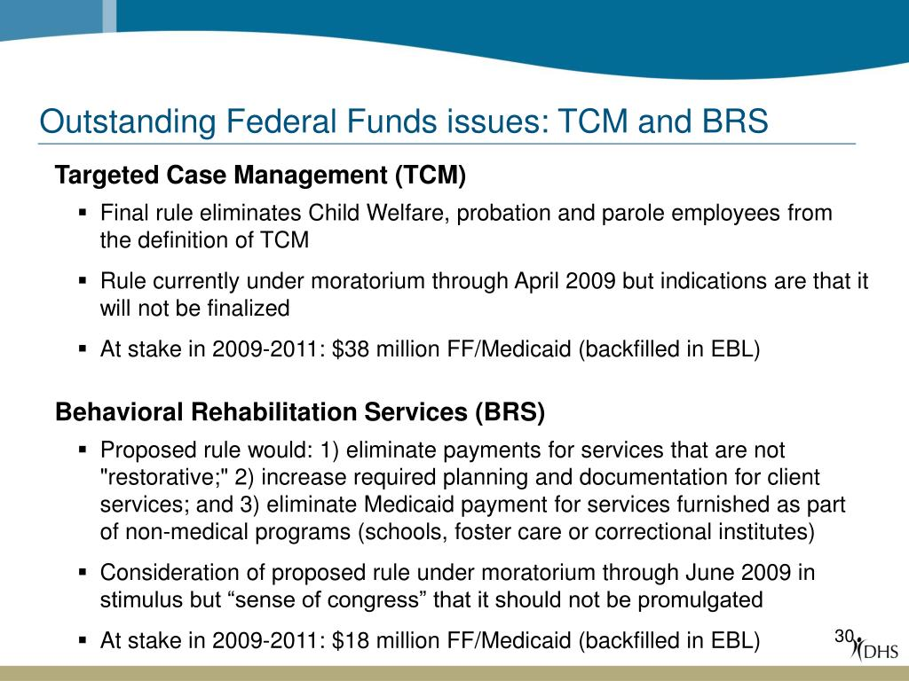 Outstanding Federal Funds issues: TCM and BRS