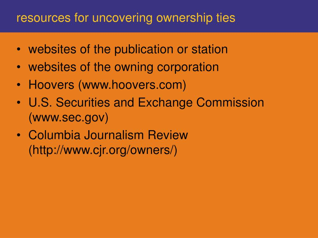 resources for uncovering ownership ties