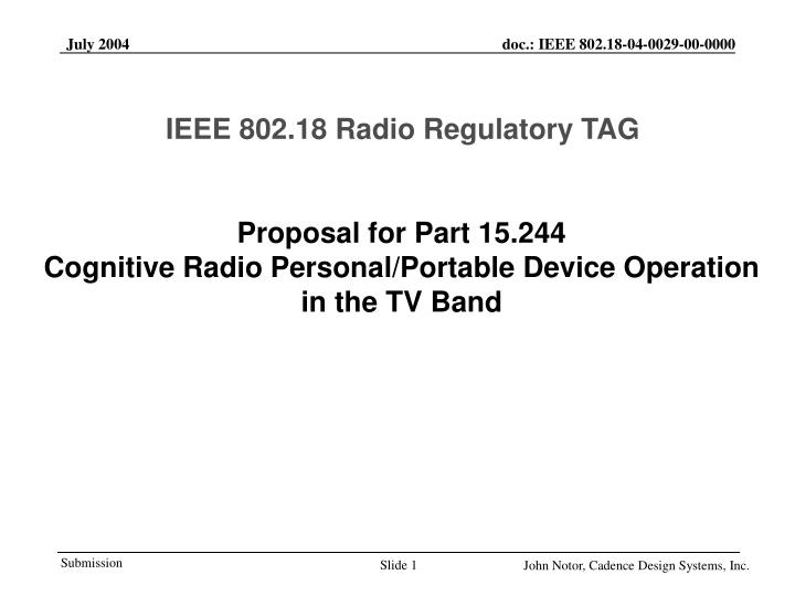 proposal for part 15 244 cognitive radio personal portable device operation in the tv band n.