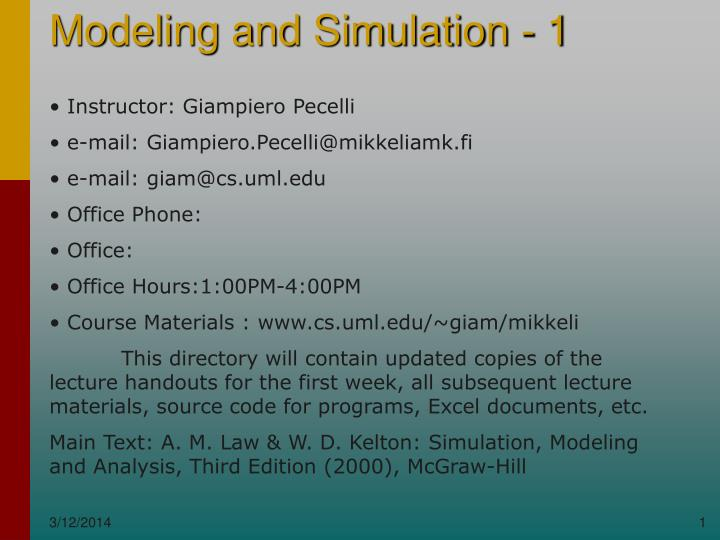 modeling and simulation 1 n.