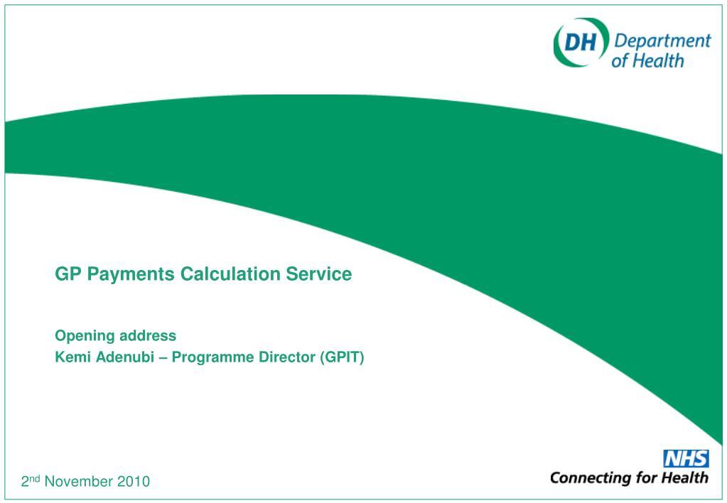 gp payments calculation service l.