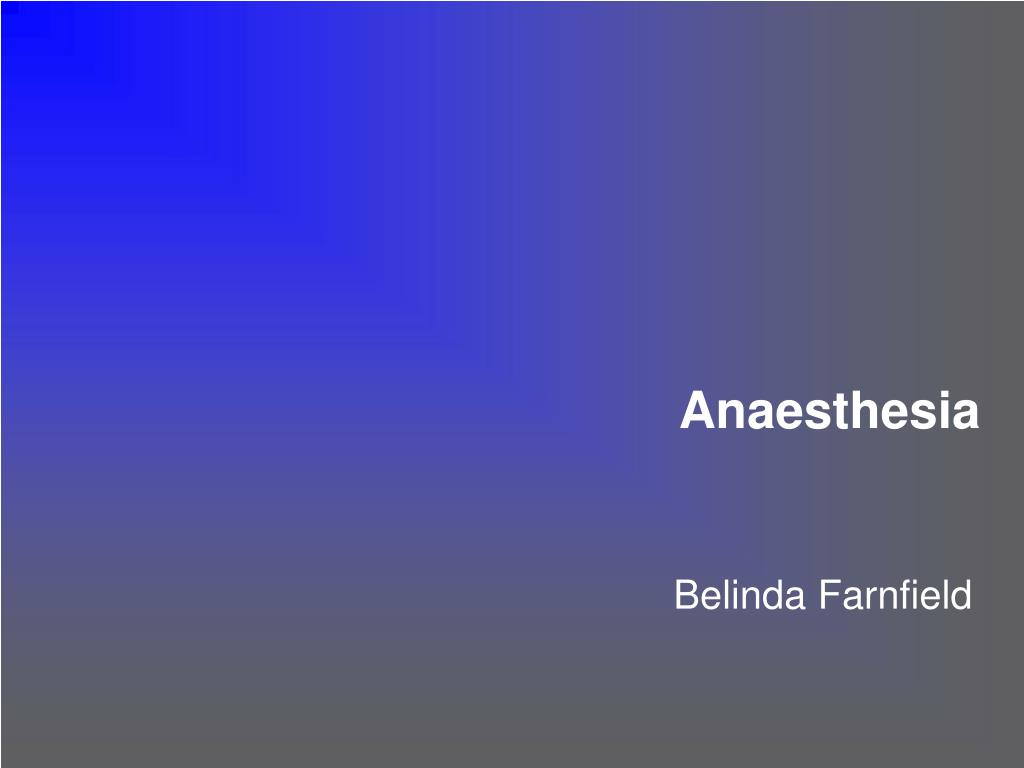 anaesthesia l.