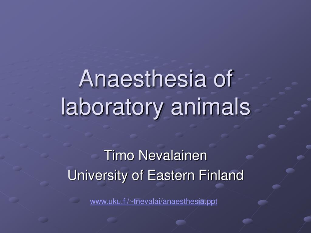 anaesthesia of laboratory animals l.