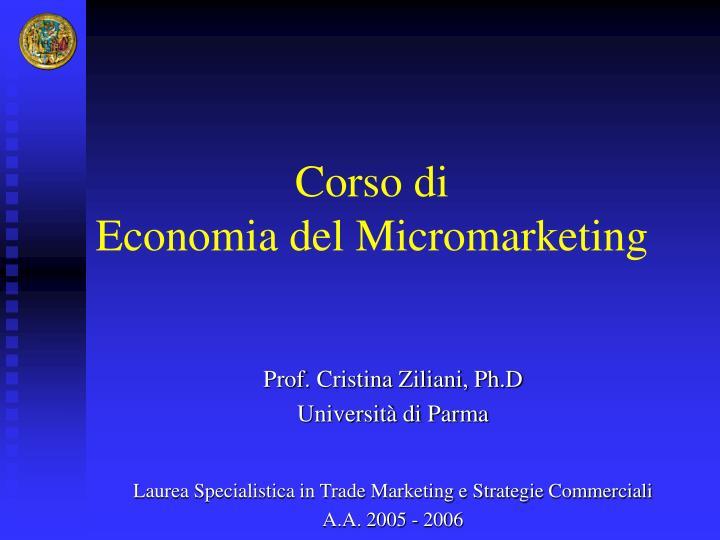 corso di economia del micromarketing n.