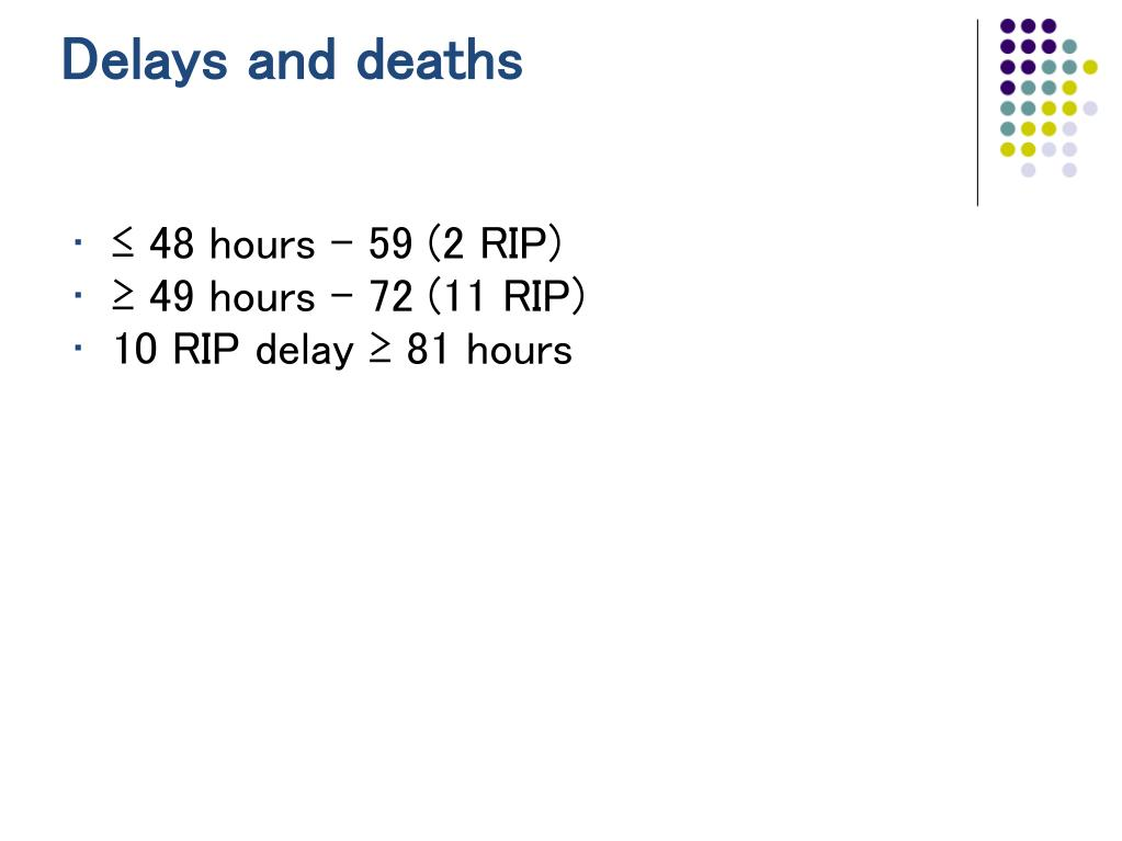 Delays and deaths