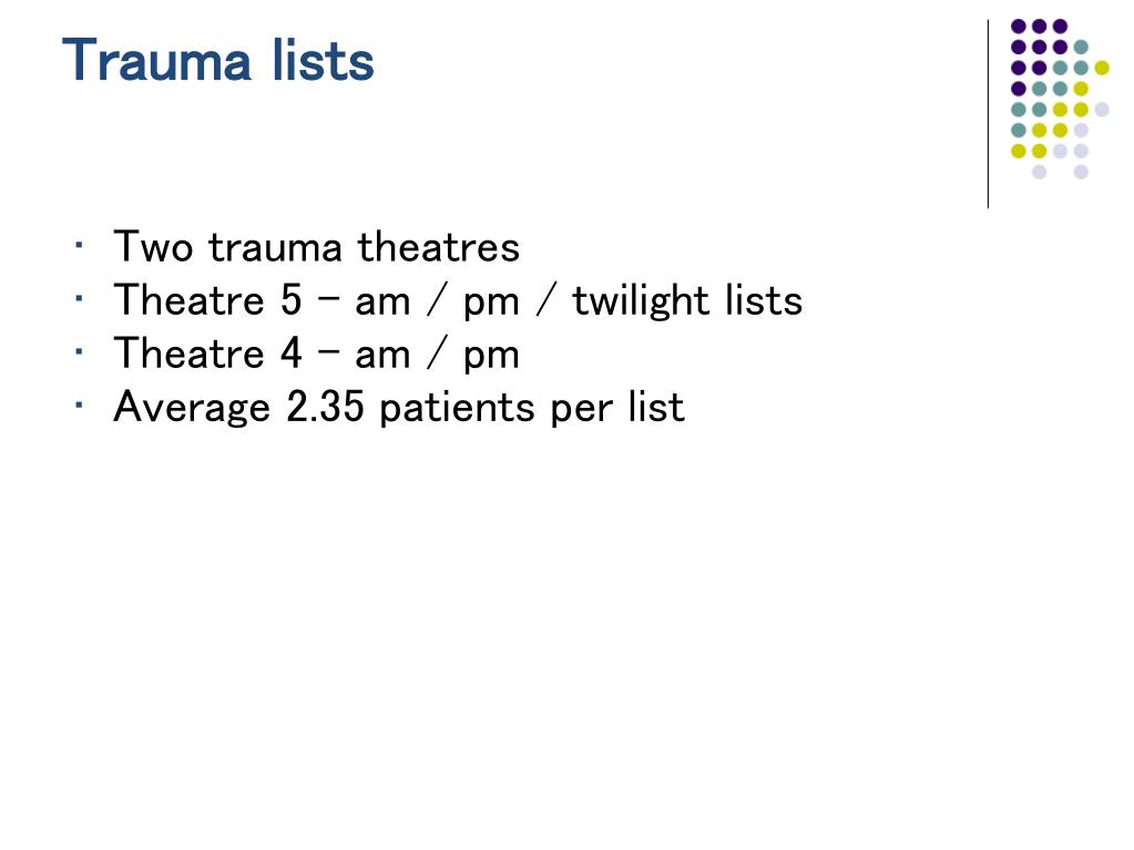 Trauma lists
