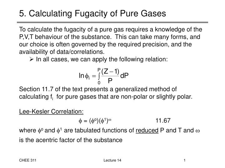 5 calculating fugacity of pure gases n.