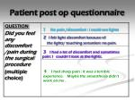 patient post op questionnaire