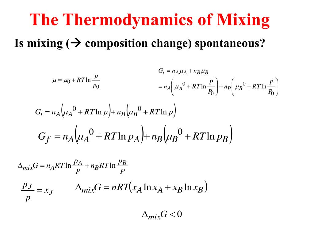 Non Ethanol Gas >> PPT - The thermodynamic description of mixtures: Partial molar quantities The thermodynamics of ...