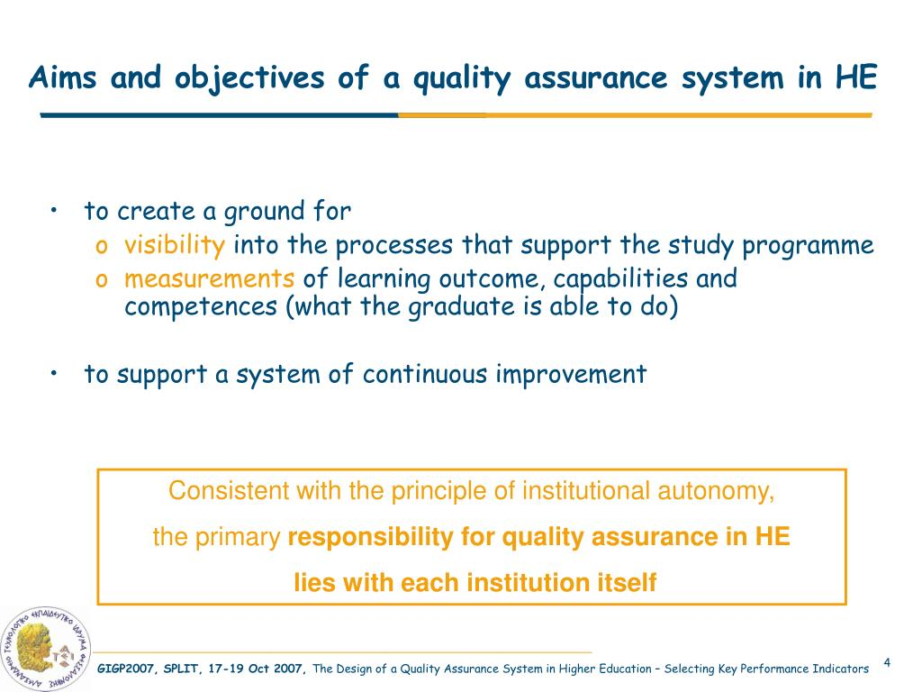 Aims and objectives of a quality assurance system in HE