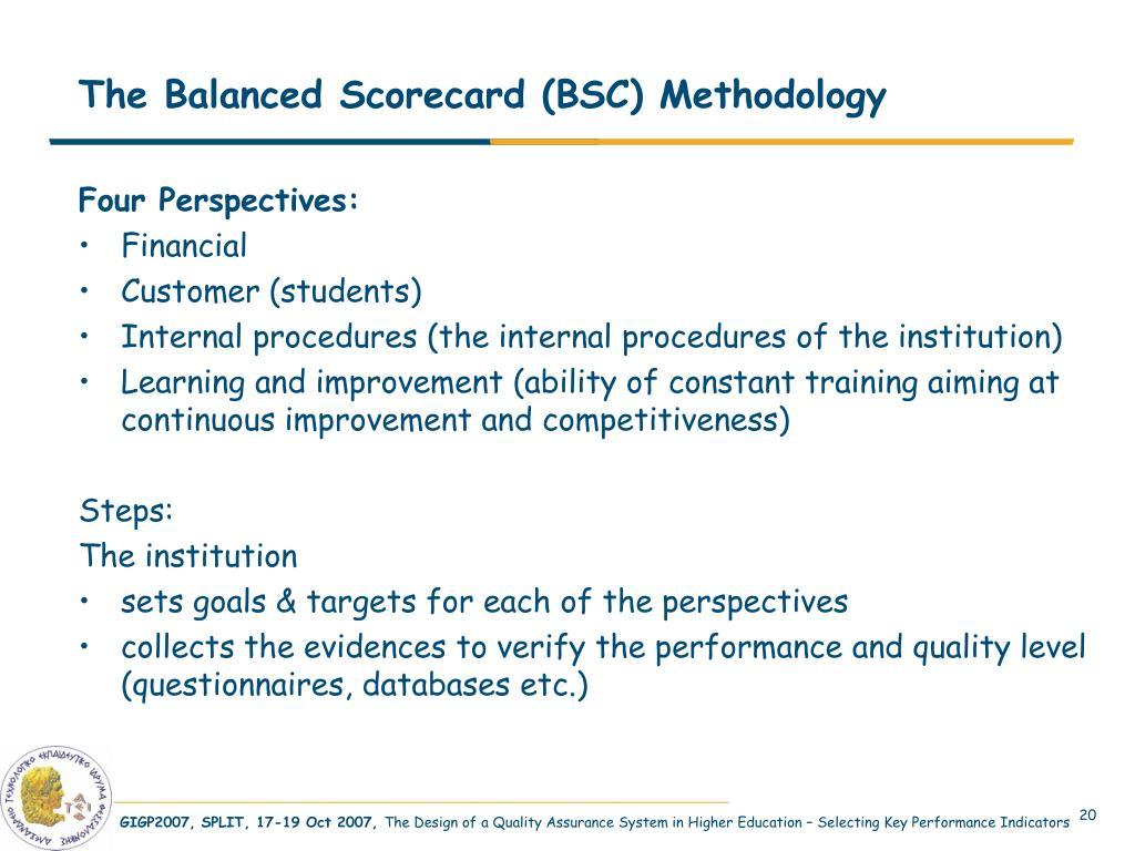 The Balanced Scorecard (BSC) Methodology
