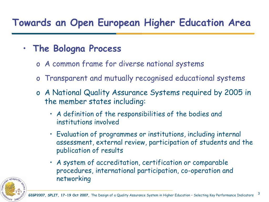 Towards an Open European Higher Education Area