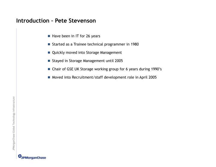 Introduction pete stevenson