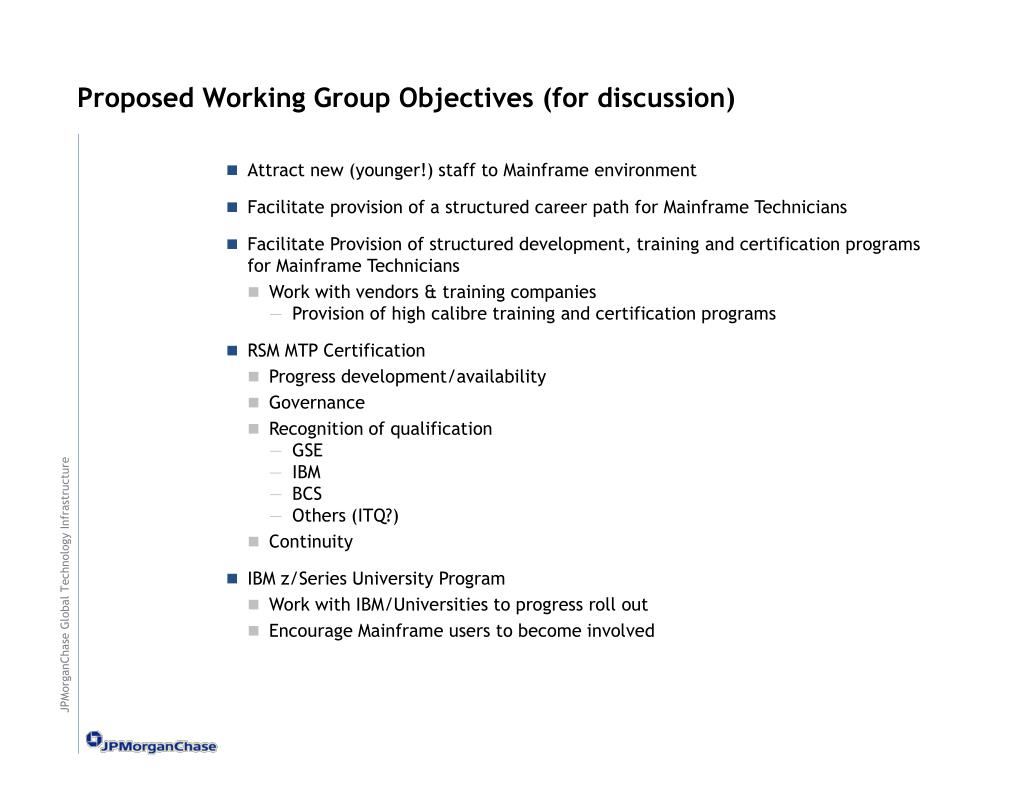 Proposed Working Group Objectives (for discussion)